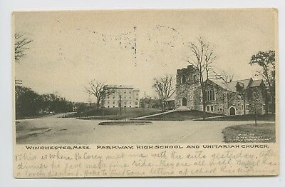 For sale Postcard - Winchester, MA - EARLY 1906 STREET SCENE - Parkway HS & Church - UDB