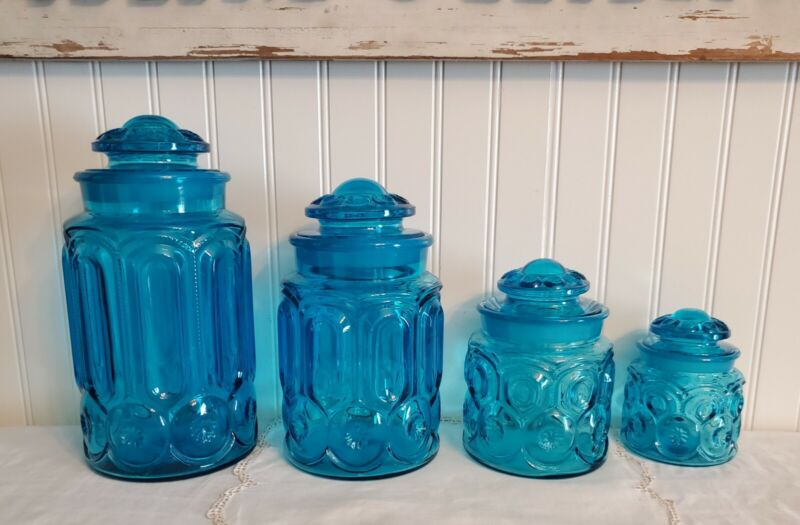 Vintage L E Smith Moon and Stars Colonial Blue 4 Piece Canister Set with Lids