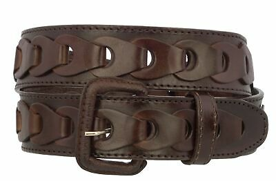 Mens Braided Real Leather Cowboy Jean Belt Removable Buckle Western Dress Brown Braided Leather Jean Belts