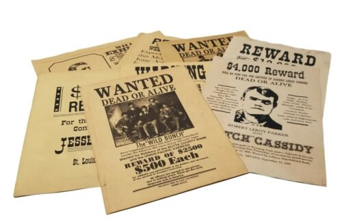 "Old West Wanted Posters 12 PC Set 8.5"" x 11"" Parchment With Antique Finish"