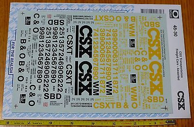 Microscale Decal O #48-30 CSX Transportation Freight Cars Assorted - 2 Sheet Set