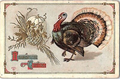 Thanksgiving Arts And Crafts (Postcard Thanksgiving Greetings Turkey Pumpkin Arts And Crafts Style)