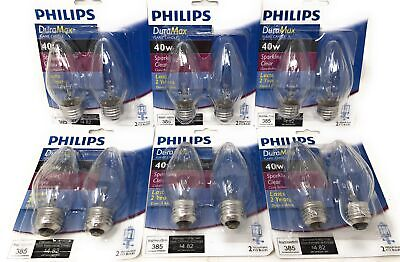 Philips DuraMax F15 Incandescent Flame Candle Light Bulb Pack of 12 Med Base New F15 Medium Base