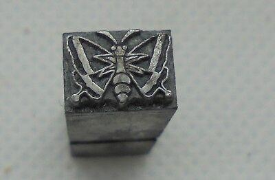 Vintage Printing Letterpress Printers Block Tiny Butterfly Dingbat