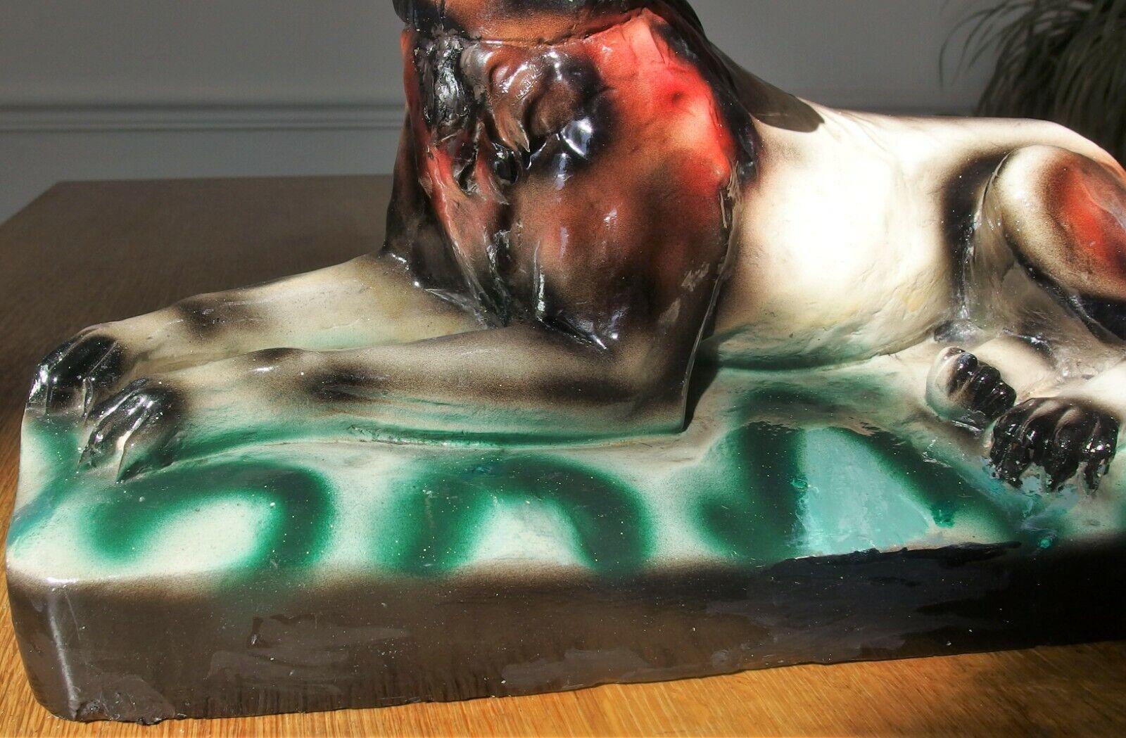 Statue berger allemand en plâtre polychrome signée biagioni