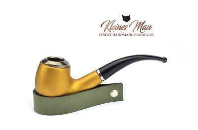 """Pfeifenständer """"Smooth Olive"""" aus echtem Leder - Handmade in D by KleinesMau"""