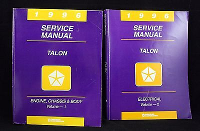 1996 Chrysler Talon Service Manual 2 Volumes Engine Electrical Auto Repair