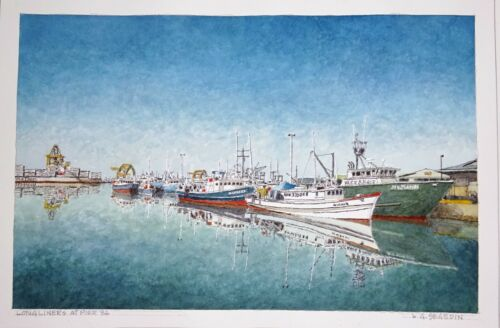 "Original Hawaii Watercolor Painting ""longliners At Pier 36"" By L Segedin #81"
