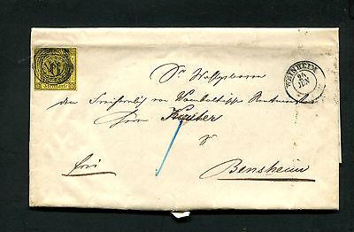 Baden  Nr. 7 auf kompl. Brief von 1858   Michel 85,-  (#2148)