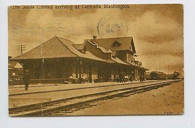 Postcard - Centralia, WA - SHASTA AT TRAIN DEPOT STATION -  RAYMOND 1913 CANCEL