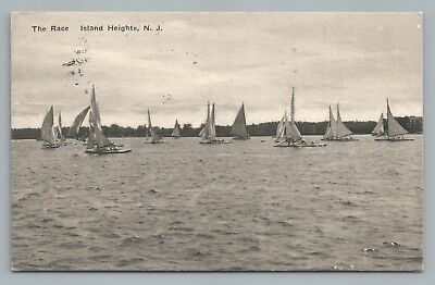 Yacht Race ISLAND HEIGHTS New Jersey Shore—Rare Antique Sailing Boats 1917