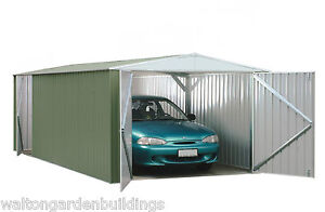 10x20 Absco Metal Garage Storage Shed Pale Eucalyptus Double Door Apex 10ft 20ft