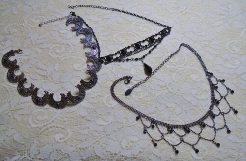 ASSORTED SILVER & BLACK TONE BEADED CHOKER CHAIN NECKLACE LOT