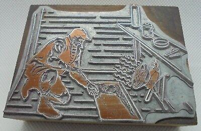 Vintage Printing Letterpress Printers Block Man Ice Fishing