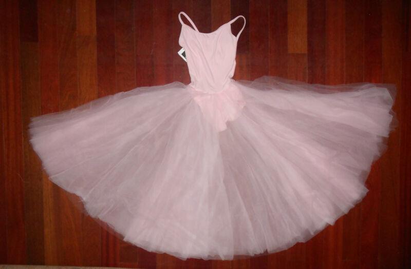 NWT Main Street Ballet Dance dress attached Romantic Skirt Lt Pink ch/adlt tulle