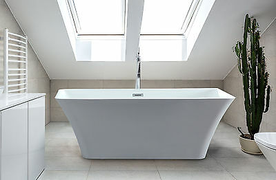 Free Standing White Acrylic Soaking Shower Rectangle Tub Adele 59 inch Bathtub