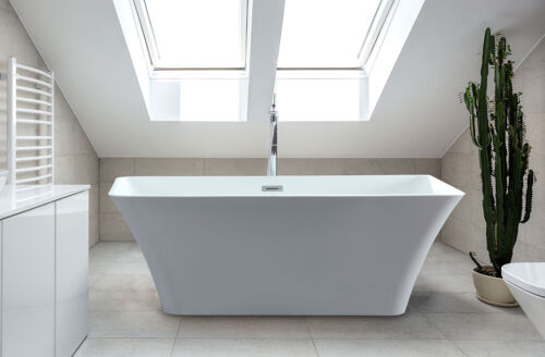 "Freestanding Bathtub   White 59""   Acrylic Soaking Rectangle Tub   Adele"