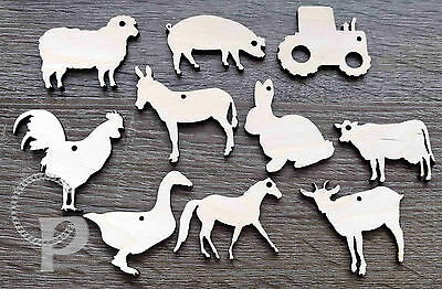 Wooden farm animal shapes tracto for crafts gift tags blank 10 shapes laser cut