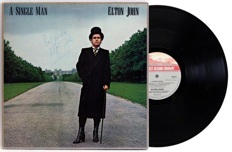 "Elton John ""Best Wishes"" Signed A Single Man Album Cover W/ Vinyl BAS #AA03330"