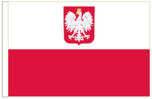 Poland State Eagle Sleeved Courtesy Flag ideal for Boats 45cm x 30cm