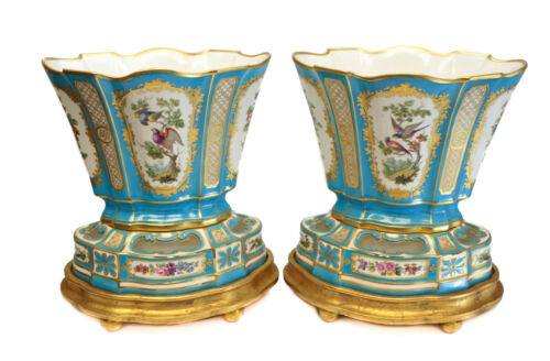 Pair Minton Hand Painted Porcelain Vases on Base, 1869. Figural Birds