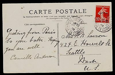 FRANCE   SCOTT# 162   ( 10c RED TYPE II) USED  (ON POST-CARD DATED JULY 20, 1908