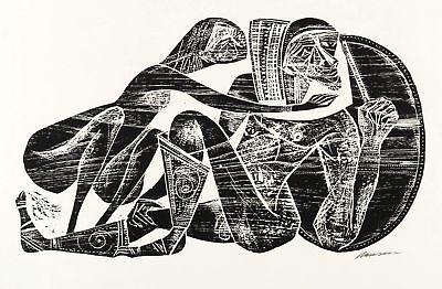 HANSEN-BAHIA - ODYSSEUS UND KALYPSO - Holzschnitt 1960