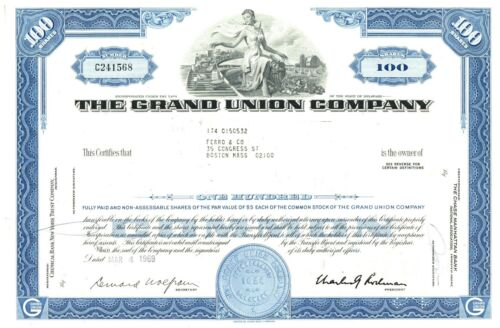 Grand Union Company. Lot of 50 pieces (25 blue, 25 green) Stock Certificate