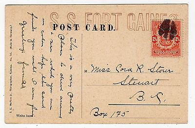 PANAMA: Picture postcard to Canada with ship's cachet (C12171)