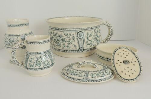 Antique Old Hall Eware England Chamber Pot Set Soap Dish Potty Pitcher Holder