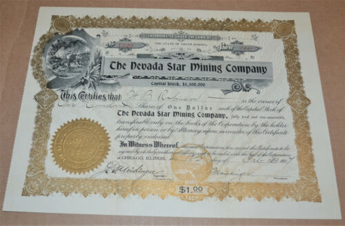 The Nevada Star Mining Company 1907 antique stock certificate