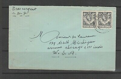 """Northern Rhodesia Early QE"""" Commercial Letter to USA with 2 6d Defs, Love the Tr"""