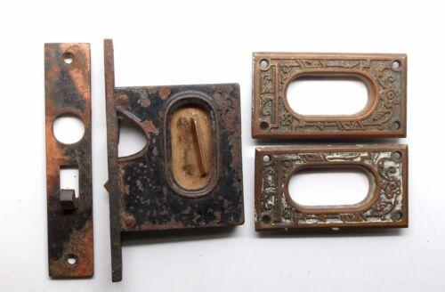Cast Iron Mortise Lock & Pocket Door Plate Set