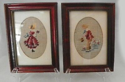 Vintage Pair Framed Needlepoint Boy & Girl in Period Costumes 6