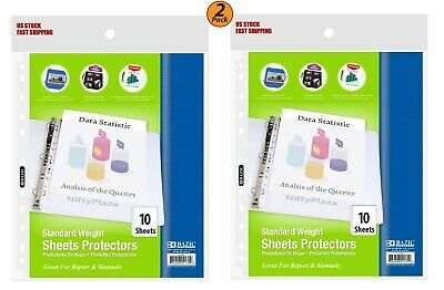 2 Pack - Standard Weight Top Loading Sheet Protectors 10pack - Protect Papers