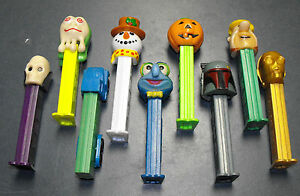 VINTAGE-LOT-OF-9-DIFFERENT-PEZ-CANDY-CONTAINERS-DISPENSERS-PUMPKIN-STAR-WARS