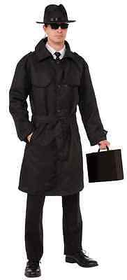 Secret Agent Trench Coat Spy Black Fancy Dress Halloween Adult Costume Accessory