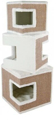 Cat Tower 3-Story Plush & Sisal Wrapped in White/Brown with