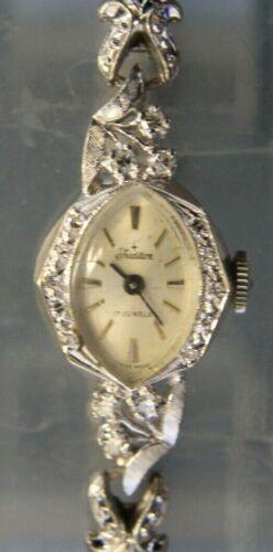Vintage 14K White Gold & Diamond TRADITION Ladies Watch 17 Jewel Swiss Made