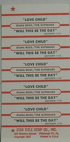 "JUKEBOX TITLE STRIP SHEET - THE SUPREMES ""Love Child"" Motown 1135"