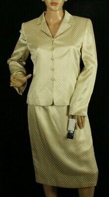 Kasper Women's Skirt Suit 2 Piece Beige Silk Blend Size 4 Retail