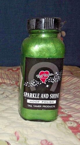 New  Tail Tamer Sparkle and Shine Hoof Polish Green 4 oz