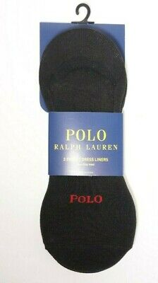 NWT NEW 3 X PAIRS POLO RALPH LAUREN MEN BLACK NON-SLIP HEEL NO SHOW LINER SOCKS. for sale  Shipping to India