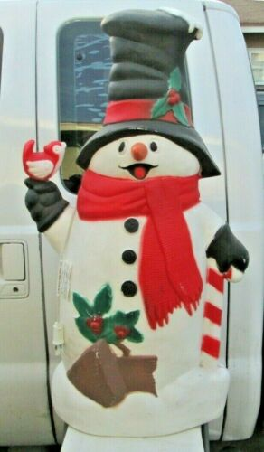 "Snowman Blow Mold TPI Plastics Christmas Lighted Plastic Yard Decor 40"" Tall"