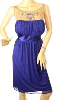 Mesh Emma Dress - S.l. Fashions Women's Dress Iris Blue Beaded Mesh Inset Emma Dress Size 12