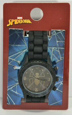 Marvel Spiderman- Men's Black Spider man Watch Silicone Band New Silver Spider