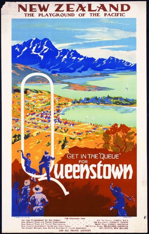 Queenstown New Zealand Vintage Travel Advertisement Art Poster