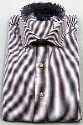 Polo Ralph Lauren Weinrot Blau Gestreift Regent Custom Kleid Shirt - Rot Gestreiftes Polo Kleid