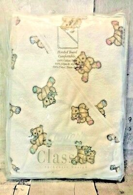 Vintage Carters Classics Hooded Terry Cloth Towel Bears Pink Blue Teal White USA Carters Terry Hooded Towel