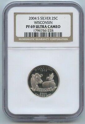 2004-S Wisconsin Silver Quarter NGC PF 69 Ultra Cameo for sale  Boca Raton